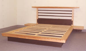 Asian Torii platform bed with wing tables
